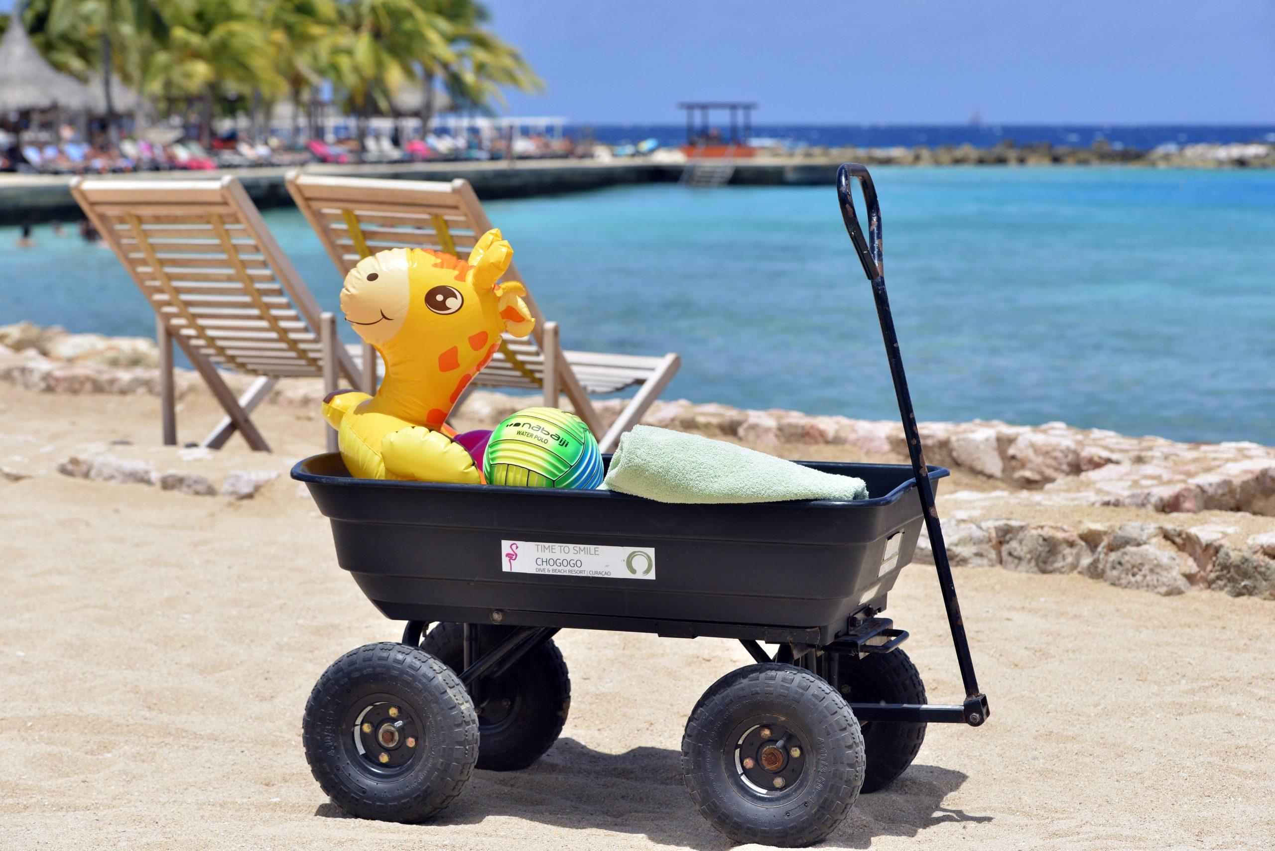 Duurzame, lichtgewicht strandkarren om familie spullen te vervoeren.